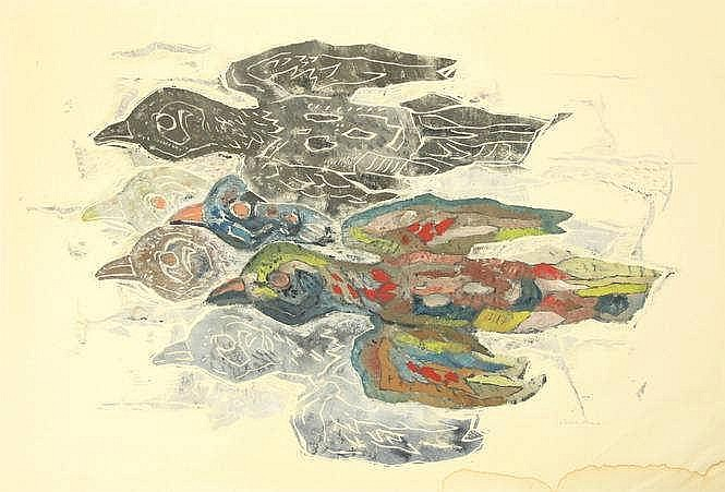 Alma, P. (1886-1969). (Birds). Col. woodcut, 53x86