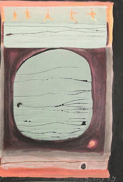 Donders, X. (b.1962). Weerspiegeling. 1 Brug - 2 b