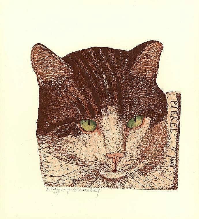 Berg, A. van den (b.1947). (Cats). Lot of 5 handco