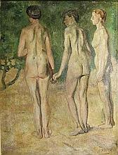Boot, H.F. (1877-1963). (The three graces). Oil on