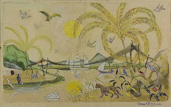Bayaux, P.H. (1884-1946). (Exotic landscape). Draw