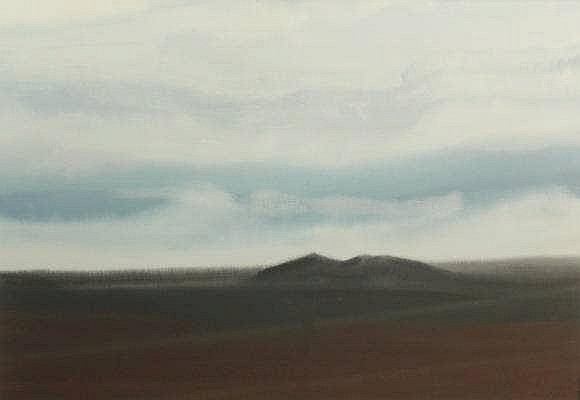 Plaat, H.E. (b.1936). (Dark landscape with blue sk