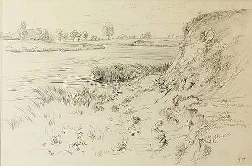 Prins, R. (1905-1954). Het Reitdiep. Drawing, penc