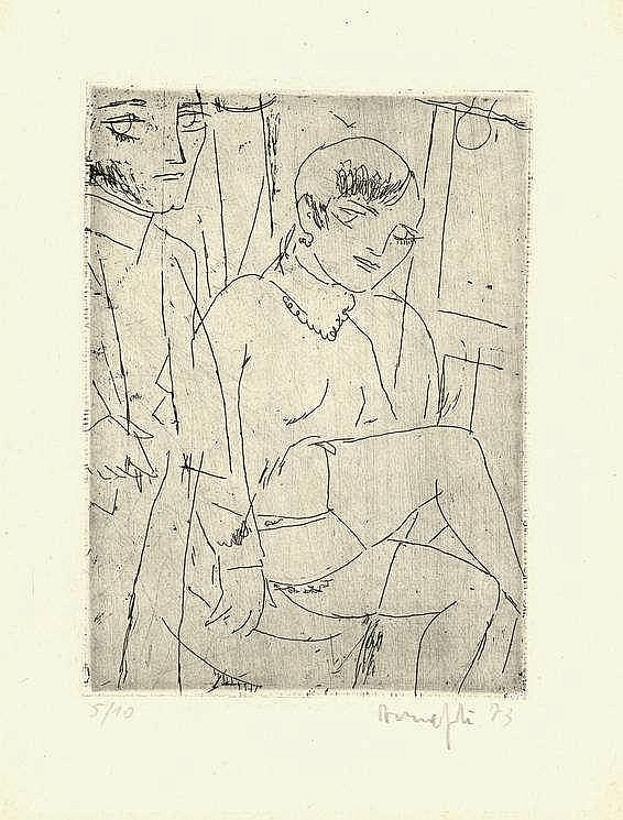Manfredi, A. (1930-2001). (Couple). Etching, 15,2x
