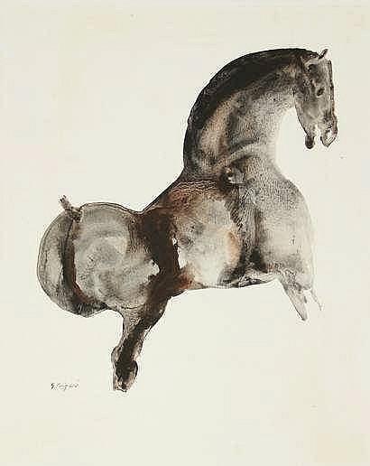 Princée, G. (1908-1999). (A horse). Drawing, gouac