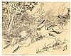 Eisen, T. (1864-1905). (Two warriors fighting on a, Kubota Beisen, Click for value