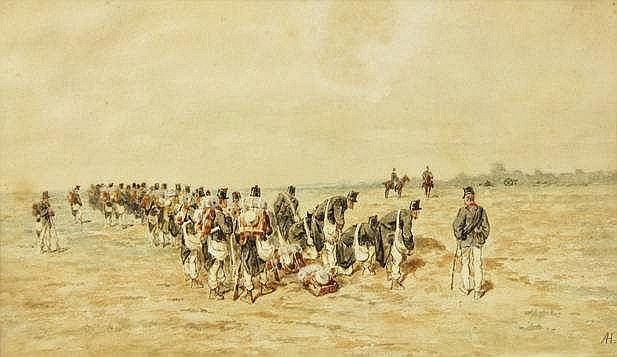 Hubert, A. (1830-1902). (Belgian soldiers getting