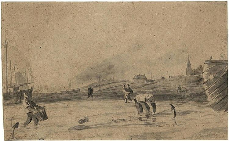 Schouten, J. (18th cent.). (Fishermen on the beach