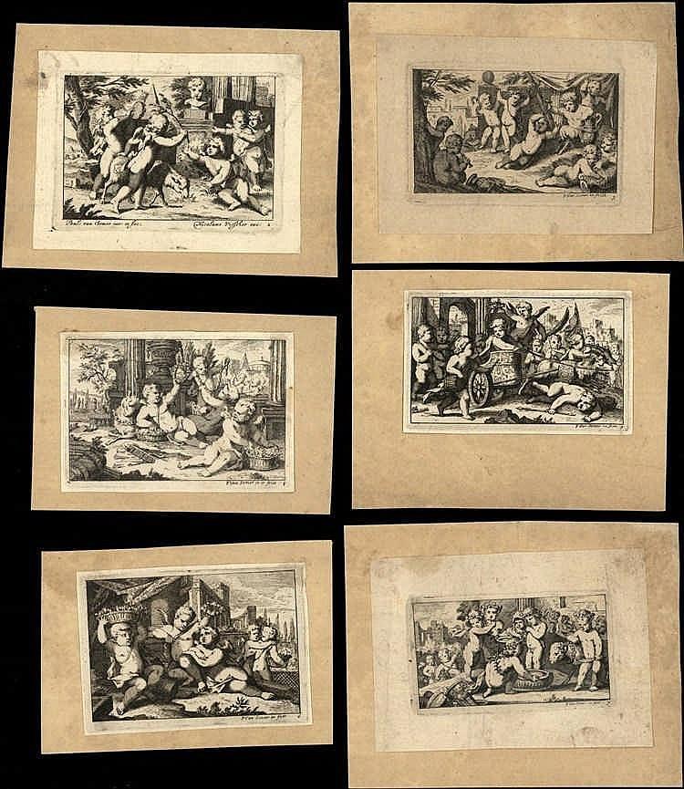 Somer II, P. van (±1649-1694). Putti playing games