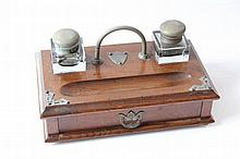 [Stationery]. Inkwell desk stand, 2nd half 19th cent., oak stand w. drawer,