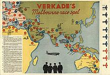 [Games and toys]. Verkade's Melbourne-race spel. Col. offset paper track ga