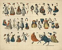 [Games and toys]. (Paper dolls). Handcol. lithogr. cut-out sheet for 12 pap