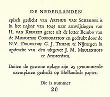 Schendel, A. van. De Nederlanden. Amst., J.M. Meulenhoff, 1945, 1st ed., 58
