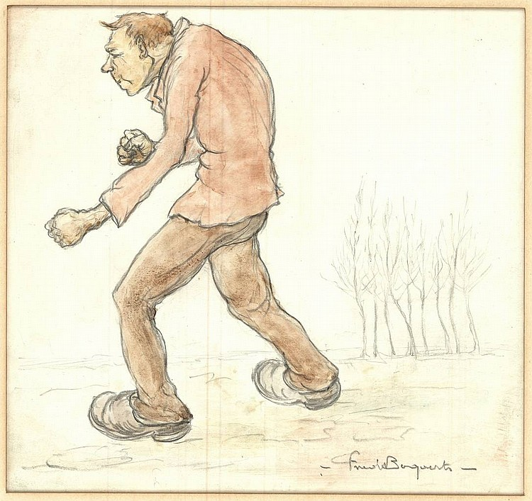 Bogaerts, F. (1882-1963). (Walking man pretending to be boxing). Drawing, pencil and watercolour, 21x22,5 cm., signed