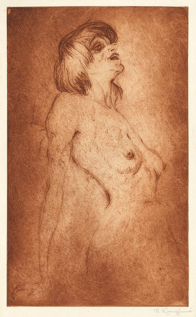 Junghanns, R.R. (1884-1967). (Nude portrait of Emmy Hennings). Drypoint, printed in sanguine, 44,3x26,6 cm., signed in pencil. = Emmy Hennings (1885-1948), dada poet and performer, wife of Hugo Ball. SEE ILLUSTRATION PLATE XXIV.