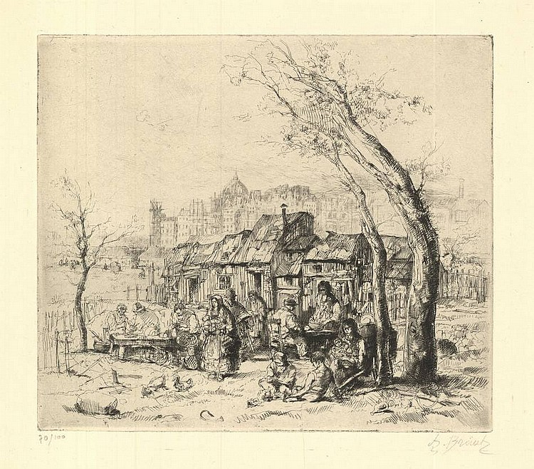 Brouet, A. (1872-1941). (Gipsies outside Billancourt). Etching, 20x23 cm., signed and numb.