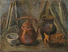 Boot, H.F. (1877-1963). (Still life with a teapot, a vase and two bowls). Oil on canvas, 44x57 cm., signed in lower right corner, without frame. - Small wormholes or pinholes in corners/ margins.