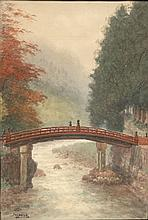 """[Drawings]. Yokouchi, G. (1870-1942). (Red bridge over a river in a forest). Watercolour on paper, 48x32,5 cm., signed """"Yokouchi"""". - Sl. browned. Verso brownstained; w. later manuscript annotation."""