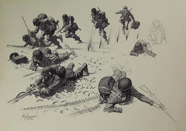 Hummel, J. (1920-1990). (Soldiers under attack).