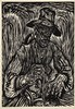 Dijkstra, J. (1896-1978). De zichter. Woodcut, 75x53 cm., signed