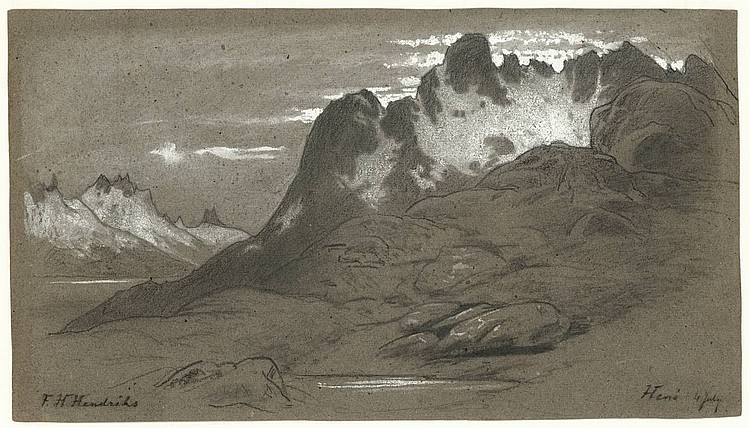 Hendriks, F.H. (1808-1865). (Mountain landscape). Drawing, black crayon on thick grey paper, heightened w. white, 29x50 cm., signed and