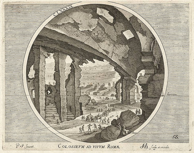 Hondius, H. (1573-1650). Roman ruins. Complete series of 6 engravings after P. STEPHANUS (PIETER STEVENS) consisting of a circular image in a rectangular field, each Ø ±20 cm. and ±21x26,5 cm. (platemark), numb.