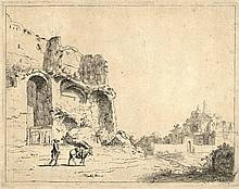 Bronckhorst, J.G. van (1603-±1661). Ruins. Etching from a series of 6 Roman ruins after C. VAN POELENBURGH, ±1640-1650, 20,6x26,1 cm. - Three small restored spots in sky area; trifle foxed. Good impression w. ample margins. = Hollstein 26, 2nd