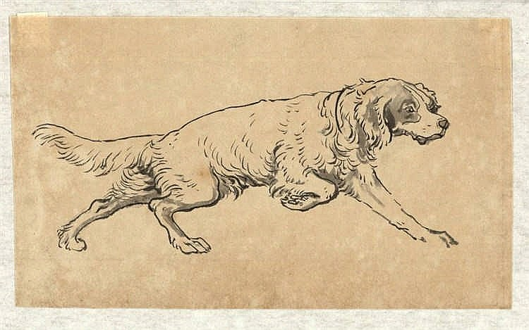 Tôho (1875-1930). (Dogs). Two drawings of a dog, brush and black ink, both