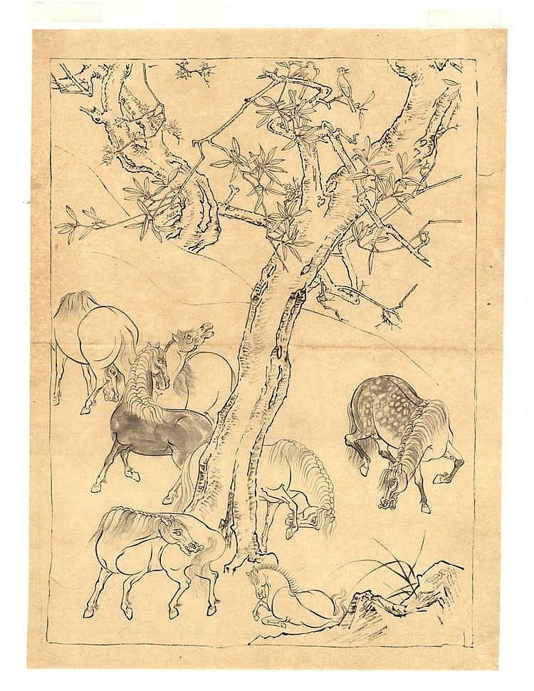 Tôho (1875-1930). (Horses underneath a tree). Drawing, brush and black ink