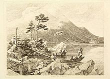 "Busse, G.H. (1810-1868). ""Eibsee am Zugspitz"". Etching, 16,7x21,7 cm., engr"