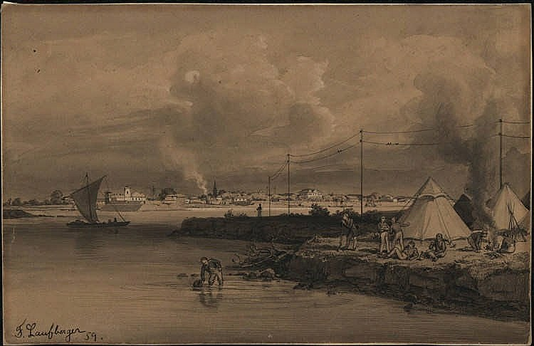 Laufberger, F. (1829-1881). (A military camp and fortified town on the shor