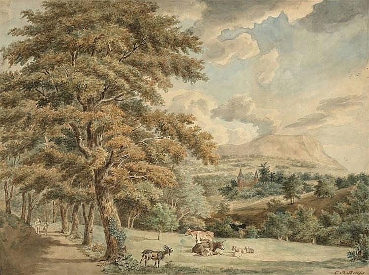 Buijs, C.B. (1808-1872). (Hillside landscape with cattle and two wanderers)