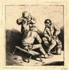 Bega, C. (1620-1664). The Three Drinkers. Etching, 10,5x10 cm., tipped unde, Cornelis Bega, €150