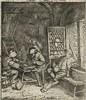 Ostade, A. van (1610-1685). The backgammon players. Etching, 8,3x7,2 cm.,