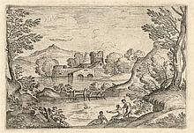 Grimaldi, G.F. (1606-1680). Landscape with a man standing near two seated m