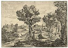 "Grimaldi, G.F. (1606-1680). Le serpent. Etching, 32x45,7 cm., ""Gio. Fran.co"
