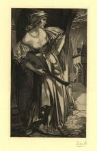 """Aarts, J.J. (1871-1934). Vrouw met luit. Woodcut, 24,3x11,5 cm., signed """"Aa"""