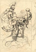 Aarts, J.J. (1871-1934). (Sirens). Drawing, pen and black ink, (orange) pen