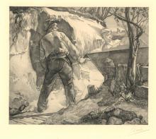 Aarts, J.J. (1871-1934). Zandgravers - in de bres. Copperengraving, 21,7x25