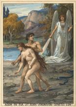"""Fischer-Cörlin, E.A. (1853-1932). """"Adam en Eva uit Eden verdreven. Genesis"""