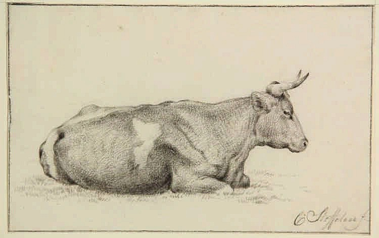 Steffelaar, C. (1797-1861). (Lying cow). Drawing, black crayon, 12,4x16,5 c