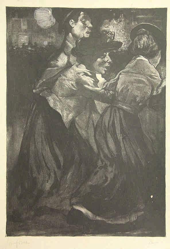 Aarts, J.J. (1871-1934). Kermispret. Washlithograph, 1903, 42,2x29,3 cm., s