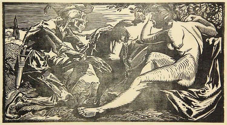 Aarts, J.J. (1871-1934). Dood en naakte vrouw. Woodcut, 15,4x28,5 cm., on C