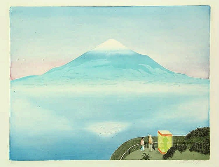 Bakker, S. (b.1943). Yamanaka. Colour etching and aquatint, 42,8x55,5 cm.,