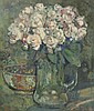 Damave, P.H. (1921-1988). (A vase with roses and a bowl). Painting, oil on canvas, 43,8x37,6 cm., signed