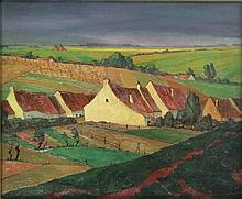 """Deweerdt, A. (1890-1982). (Flemish village surrounded by fields). Oil on wooden panel, 58x70,5 cm., signed and """"27"""", framed."""