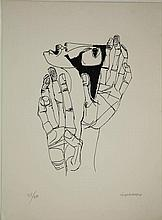 Guayasamin, O. (1919-1999). (Face and two hands). Lithograph, 41,5x28,5 cm., signed
