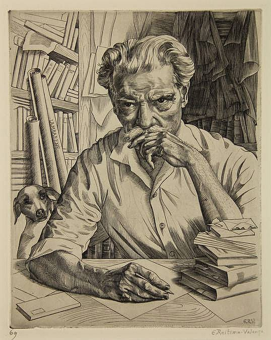 Reitsma-Valença, E. (1889-1981). Portret van Albert Schweitzer. Copperengraving, 1962, 24,6x19,4 cm., signed and numb.
