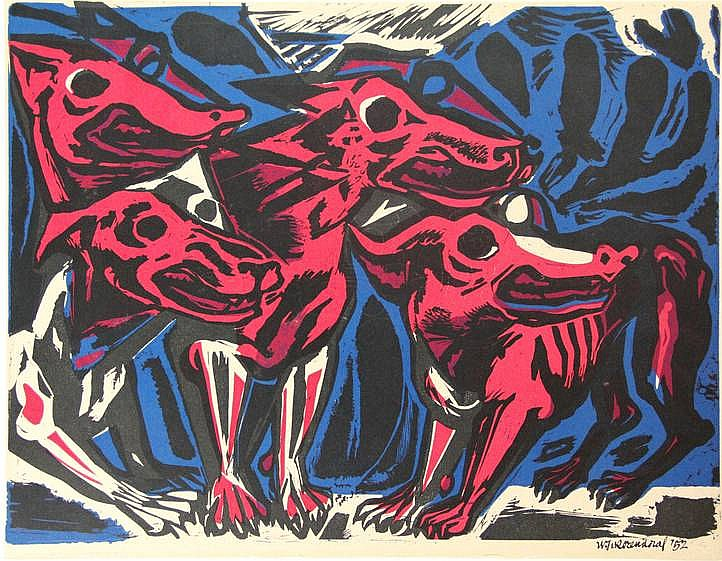 Rozendaal, W.J. (1899-1971). Honden in rood. Col. linocut, 39x50 cm., signed and