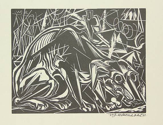 Rozendaal, W.J. (1899-1971). (A dog gnawing on a bone). Linocut, 21x27 cm., signed and